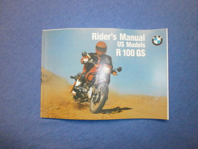 Riders manual US models R100GS Ausgabe 1991 in english